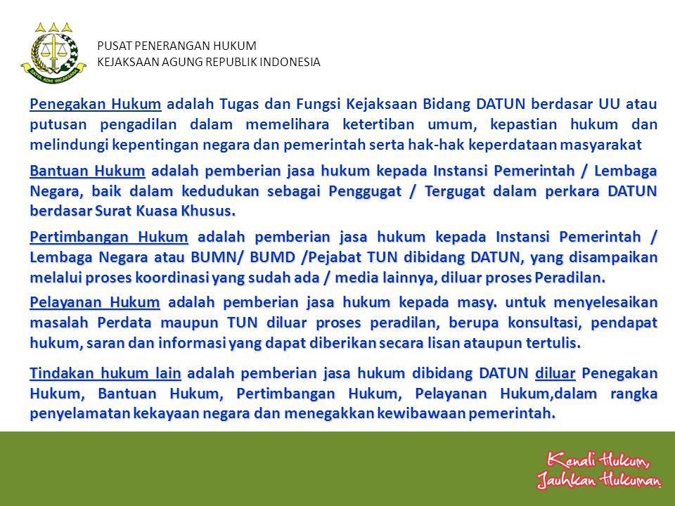 PUSAT PENERANGAN HUKUM KEJAKSAAN AGUNG REPUBLIK INDONESIA Penegakan Hukum adalah Tugas dan Fungsi Kejaksaan Bidang DATUN berdasar UU atau putusan peng