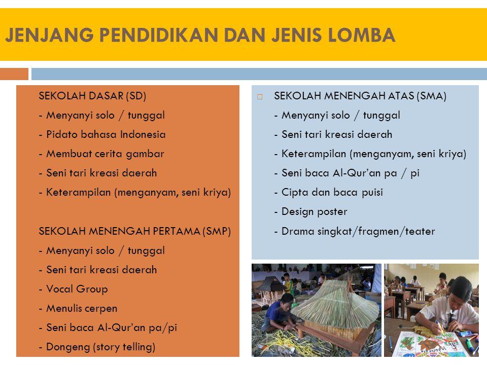 JENJANG PENDIDIKAN DAN JENIS LOMBA  SEKOLAH DASAR (SD) - Menyanyi solo / tunggal - Pidato bahasa Indonesia - Membuat cerita gambar - Seni tari kreasi