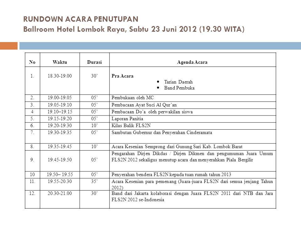 RUNDOWN ACARA PENUTUPAN Ballroom Hotel Lombok Raya, Sabtu 23 Juni 2012 (19.30 WITA) NoWaktuDurasiAgenda Acara 1.18.30-19.0030'Pra Acara  Tarian Daera
