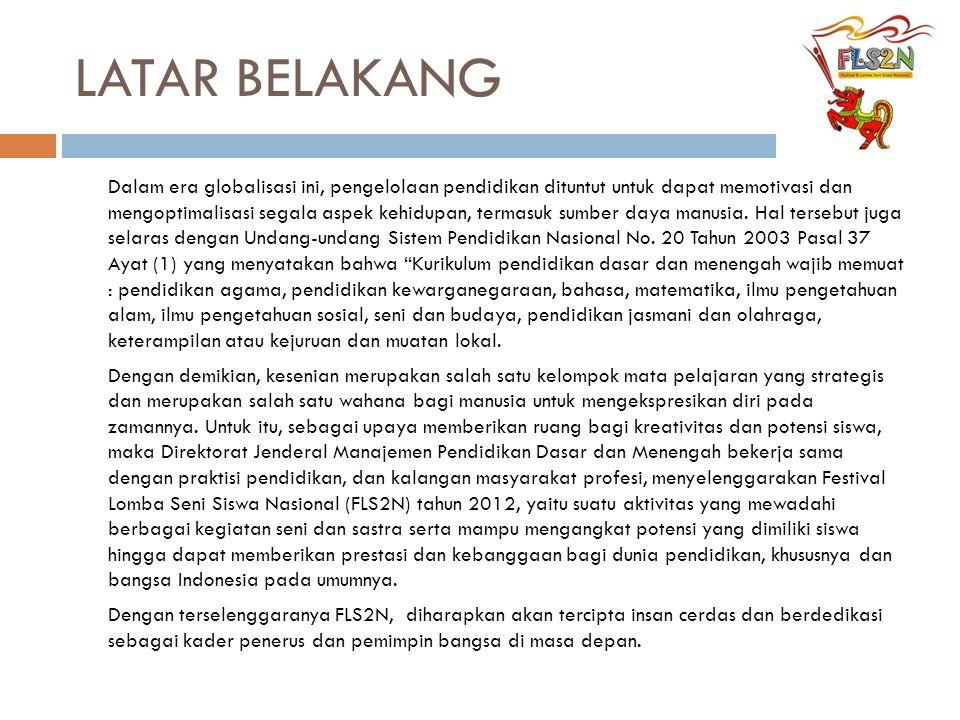 RUNDOWN ACARA PENUTUPAN Ballroom Hotel Lombok Raya, Sabtu 23 Juni 2012 (19.30 WITA) NoWaktuDurasiAgenda Acara 1.18.30-19.0030'Pra Acara  Tarian Daerah  Band Pembuka 2.19.00-19.0505'05'Pembukaan oleh MC 3.19.05-19.1005'Pembacaan Ayat Suci Al Qur'an 419.10–19.1505'Pembacaan Do'a oleh perwakilan siswa 5.5.19.15-19.2005'Laporan Panitia 6.6.19.20-19.3010'10'Kilas Balik FLS2N 7.7.19.30-19.3505'Sambutan Gubernur dan Penyerahan Cinderamata 8.8.19.35-19.4510'Acara Kesenian Semprong dari Gunung Sari Kab.
