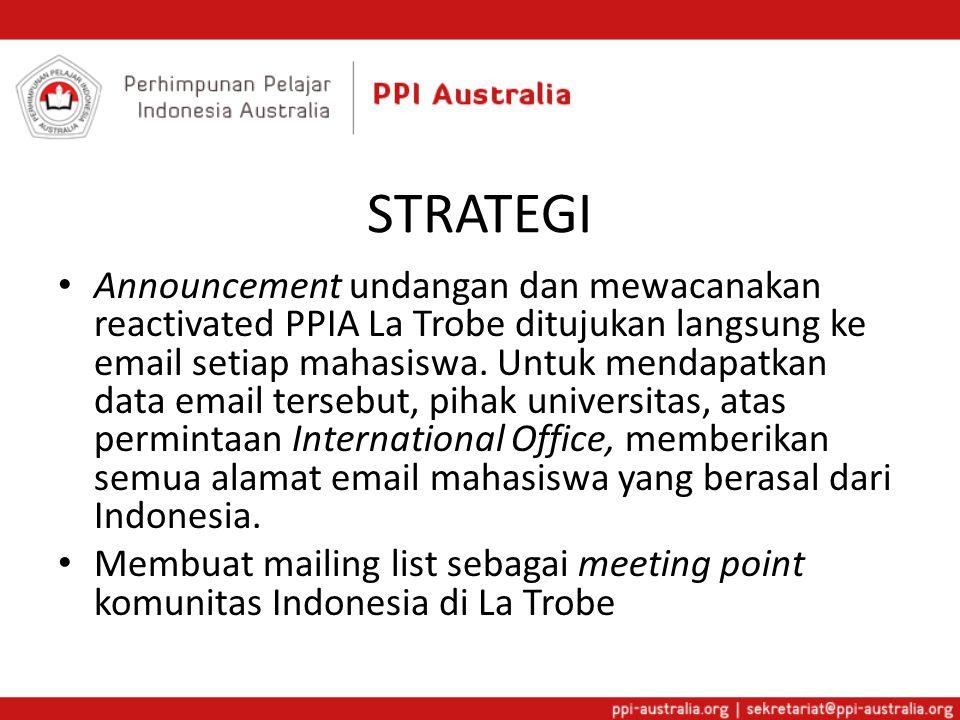 STRATEGI Announcement undangan dan mewacanakan reactivated PPIA La Trobe ditujukan langsung ke email setiap mahasiswa.