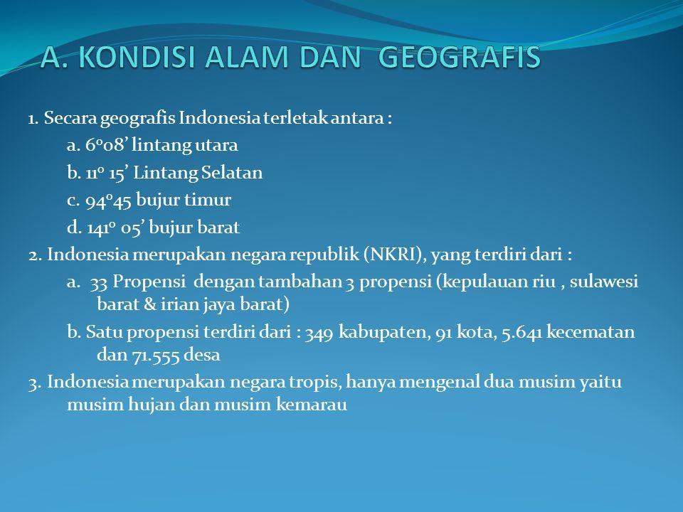 1.Secara geografis Indonesia terletak antara : a.