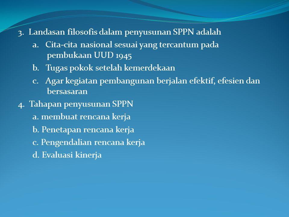 3.Landasan filosofis dalam penyusunan SPPN adalah a.