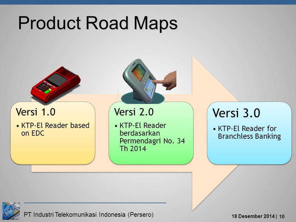 PT Industri Telekomunikasi Indonesia (Persero) 18 Desember 2014 | 10 Product Road Maps Versi 1.0 KTP-El Reader based on EDC Versi 2.0 KTP-El Reader berdasarkan Permendagri No.