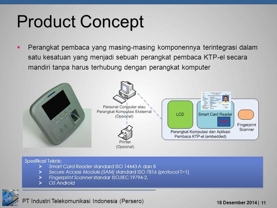 PT Industri Telekomunikasi Indonesia (Persero) 18 Desember 2014 | 11 Product Concept  Perangkat pembaca yang masing-masing komponennya terintegrasi dalam satu kesatuan yang menjadi sebuah perangkat pembaca KTP-el secara mandiri tanpa harus terhubung dengan perangkat komputer Spesifikasi Teknis:  Smart Card Reader standard ISO 14443 A dan B  Secure Access Module (SAM) standard ISO 7816 (protocol T=1)  Fingerprint Scanner standar ISO/IEC 19794-2.