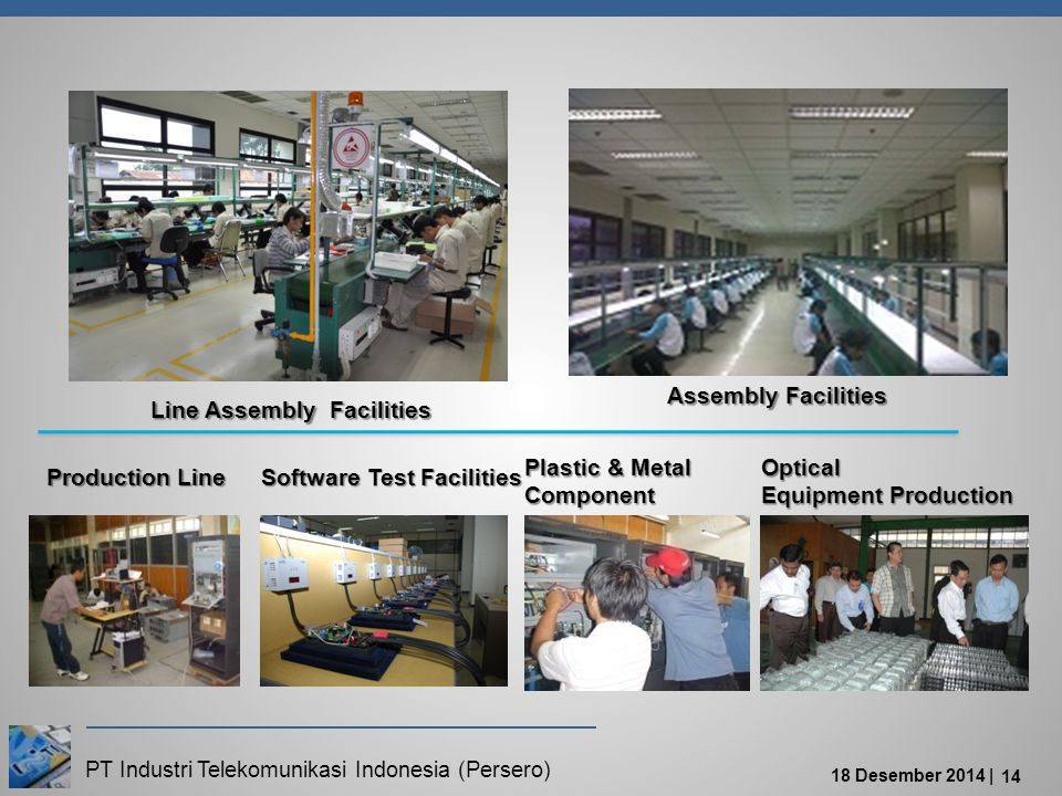 PT Industri Telekomunikasi Indonesia (Persero) 18 Desember 2014 | 14 Software Test Facilities Production Line Optical Equipment Production Plastic & Metal Component Line Assembly Facilities Assembly Facilities