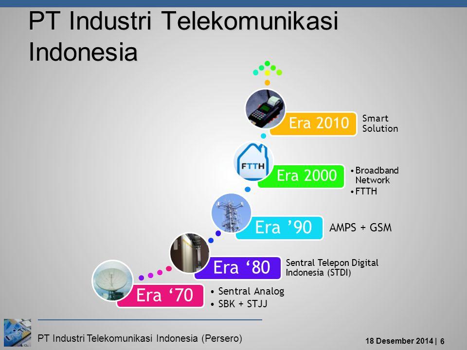 PT Industri Telekomunikasi Indonesia (Persero) 18 Desember 2014 | 6 Era '70 Sentral Analog SBK + STJJ Era '80 Sentral Telepon Digital Indonesia (STDI) Era '90 AMPS + GSM Era 2000 Broadband Network FTTH Era 2010 Smart Solution PT Industri Telekomunikasi Indonesia