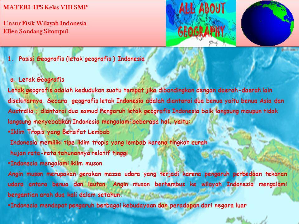 MATERI IPS Kelas VIII SMP Unsur Fisik Wilayah Indonesia Ellen Sondang Sitompul 1.Posisi Geografis (letak geografis ) Indonesia a.