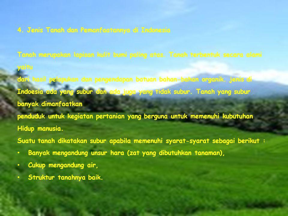 4.Jenis Tanah dan Pemanfaatannya di Indonesia Tanah merupakan lapisan kulit bumi paling atas.