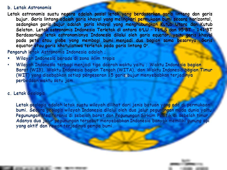 b. Letak Astronomis Letak astronomis suatu negara adalah posisi letak yang berdasarkan garis lintang dan garis bujur. Garis lintang adalah garis khaya