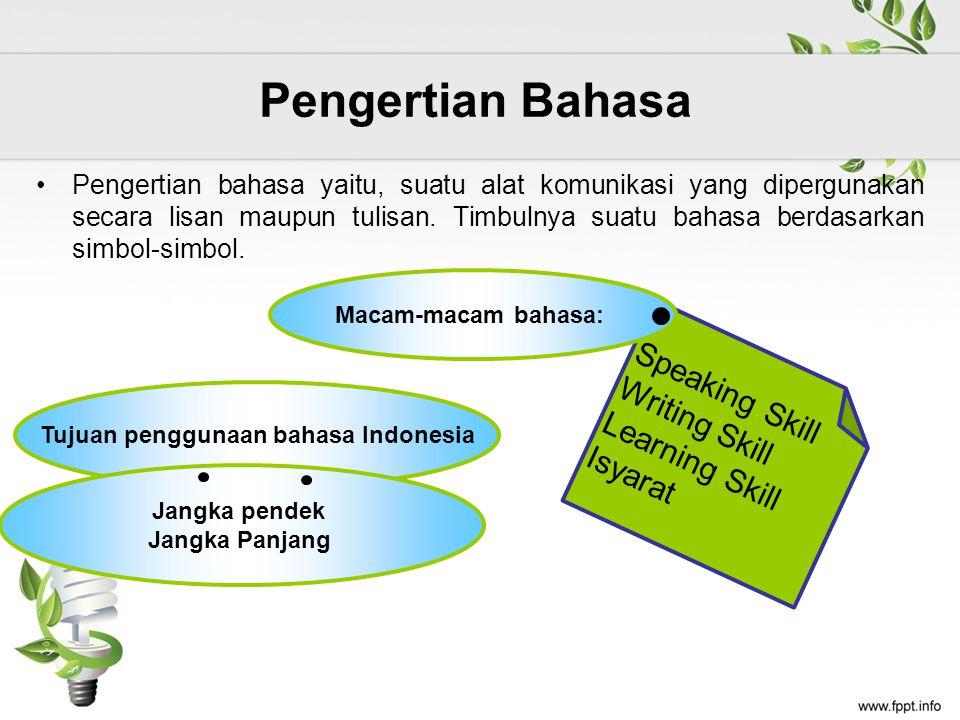 Pengertian Bahasa Pengertian bahasa yaitu, suatu alat komunikasi yang dipergunakan secara lisan maupun tulisan.