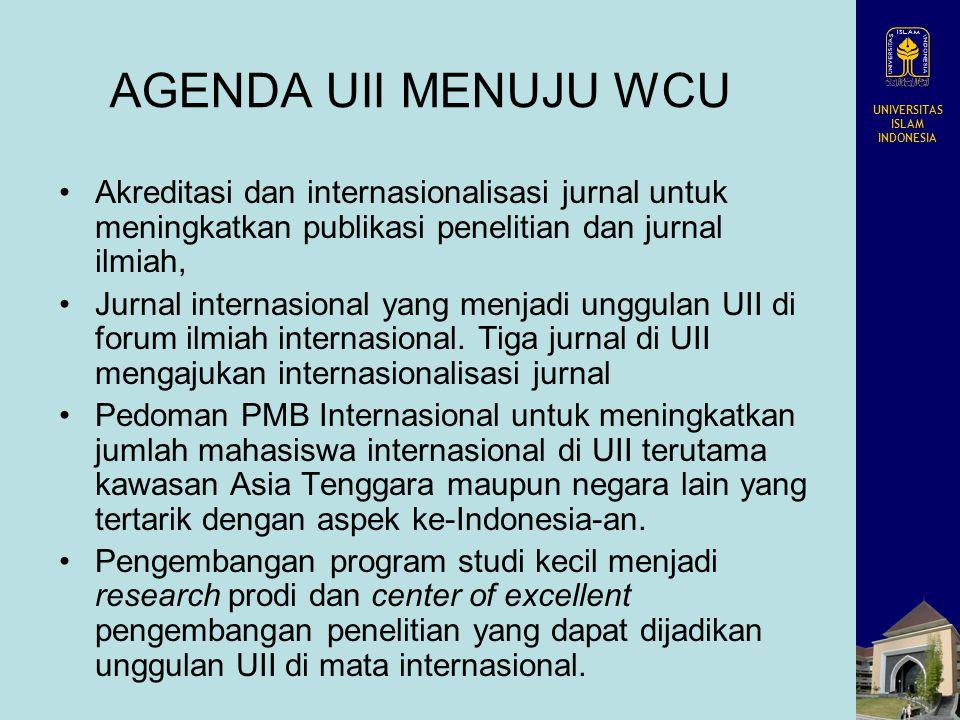 UNIVERSITAS ISLAM INDONESIA AGENDA UII MENUJU WCU Akreditasi dan internasionalisasi jurnal untuk meningkatkan publikasi penelitian dan jurnal ilmiah,