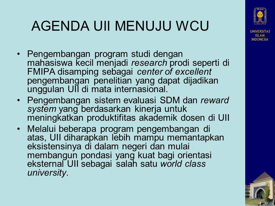 UNIVERSITAS ISLAM INDONESIA AGENDA UII MENUJU WCU Pengembangan program studi dengan mahasiswa kecil menjadi research prodi seperti di FMIPA disamping