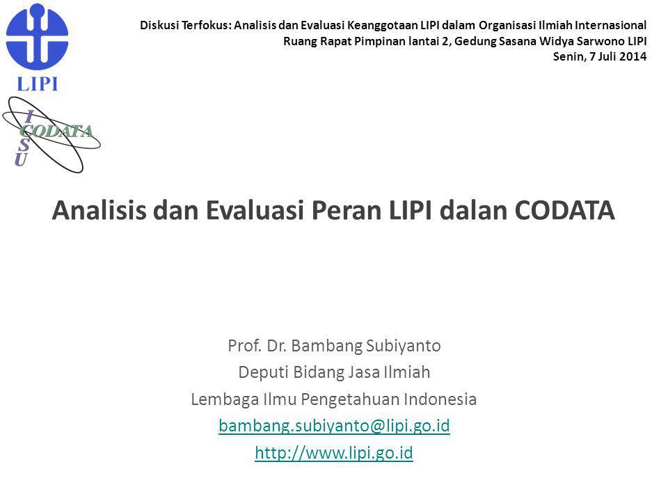 Analisis dan Evaluasi Peran LIPI dalan CODATA Prof. Dr. Bambang Subiyanto Deputi Bidang Jasa Ilmiah Lembaga Ilmu Pengetahuan Indonesia bambang.subiyan