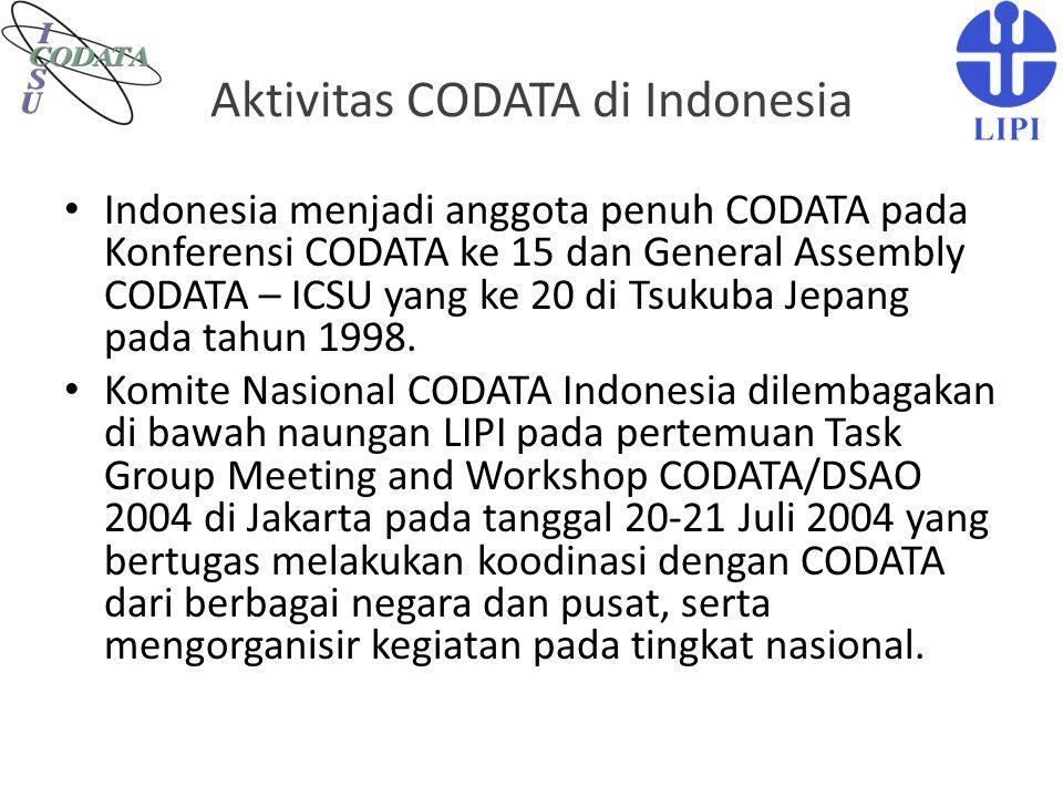 Aktivitas CODATA di Indonesia Indonesia menjadi anggota penuh CODATA pada Konferensi CODATA ke 15 dan General Assembly CODATA – ICSU yang ke 20 di Tsu