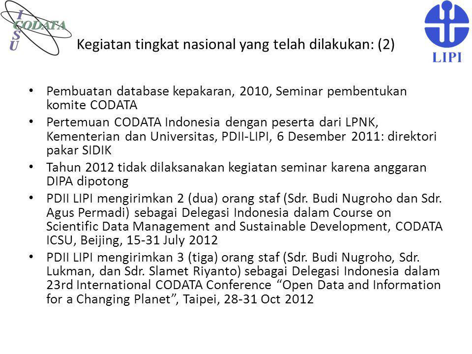 Kegiatan tingkat nasional yang telah dilakukan: (2) Pembuatan database kepakaran, 2010, Seminar pembentukan komite CODATA Pertemuan CODATA Indonesia d