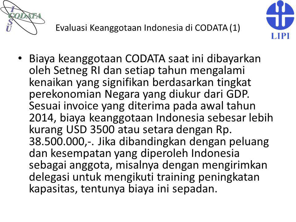Evaluasi Keanggotaan Indonesia di CODATA (1) Biaya keanggotaan CODATA saat ini dibayarkan oleh Setneg RI dan setiap tahun mengalami kenaikan yang sign