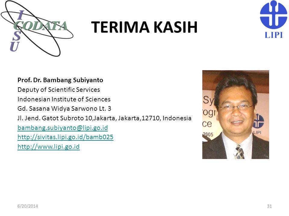 TERIMA KASIH Prof. Dr. Bambang Subiyanto Deputy of Scientific Services Indonesian Institute of Sciences Gd. Sasana Widya Sarwono Lt. 3 Jl. Jend. Gatot