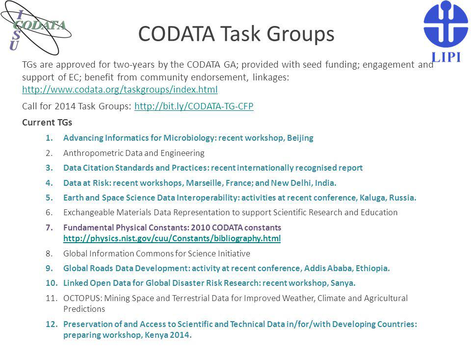 CODATA Task Groups Advancing Informatics for Microbiology Data at Risk LOD Global Disaster Data Developing 'Principle Guidelines for Data at Risk': http://bit.ly/DAR-guidelines http://bit.ly/DAR-guidelines Global Roads Review of Global Roads Data Development Methodologies: http://bit.ly/globalroads- methods Preparing White Paper on Use of LOD for Disaster Data: http://bit.ly/lodgd http://bit.ly/lodgd Collaboration around interoperability and knowledge extraction issues; research and training workshops: http://bit.ly/aim-tg http://bit.ly/aim-tg