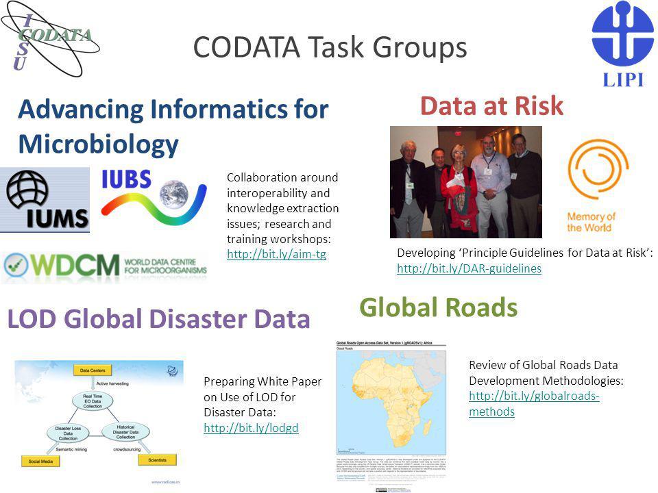Evaluasi Keanggotaan Indonesia di CODATA (2) Keanggotaan LIPI di Codata Internasional dengan PDII LIPI sebagai focal point masih strategis dalam konteks membangun kerjasama internasional.