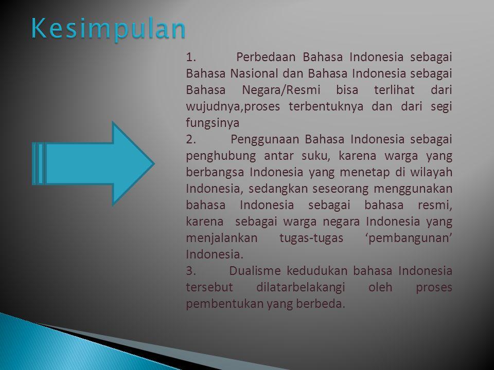 1. Perbedaan Bahasa Indonesia sebagai Bahasa Nasional dan Bahasa Indonesia sebagai Bahasa Negara/Resmi bisa terlihat dari wujudnya,proses terbentuknya
