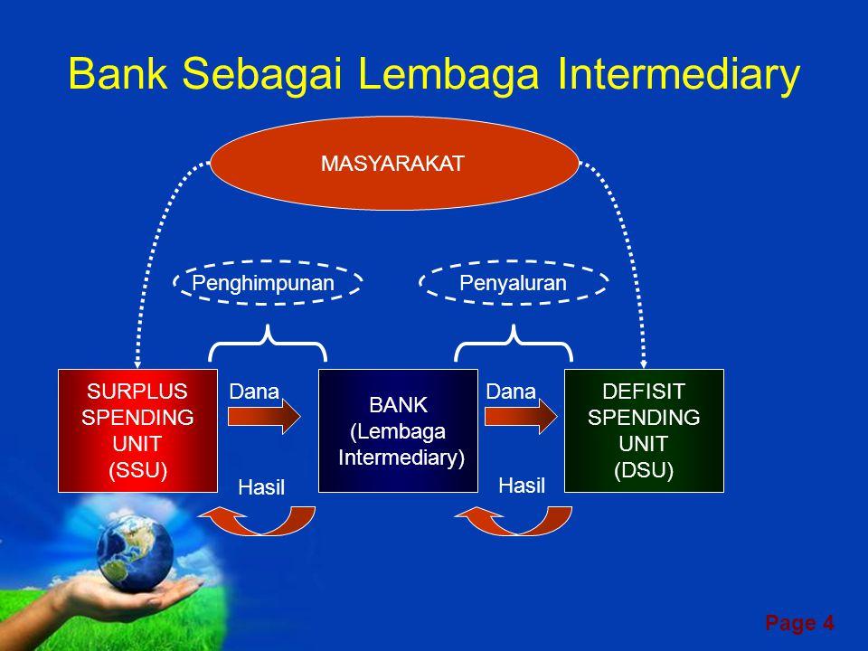 Page 4 Bank Sebagai Lembaga Intermediary SURPLUS SPENDING UNIT (SSU) BANK (Lembaga Intermediary) DEFISIT SPENDING UNIT (DSU) MASYARAKAT Dana Hasil PenghimpunanPenyaluran
