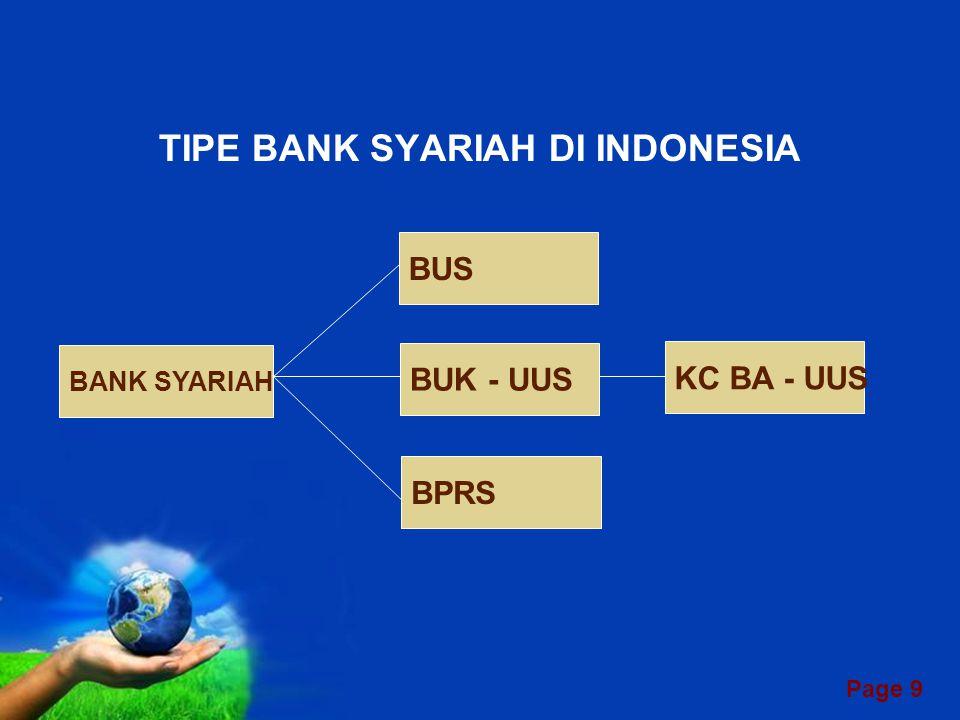 Page 19 JENIS-JENIS PRODUK PERBANKAN SYARIAH 1.Wadi'ah (Titipan) Titipan dana oleh bank pada nasabah, atau oleh nasabah pada bank Contoh : Giro, SWBI, Antar Bank 2.Mudharabah (Trust Financing, Trust Investment) Kerjasama antara bank dan nasabah, pihak pertama menyediakan seluruh modal, pihak kedua mengelola Contoh : Tabungan, Deposito Berjangka, Pooling Fund 3.Murabahah (Cost-Plus-Sale Contract) Nasabah pesan komoditi, bank membelinya, kemudian menjual kepada nasabah dengan mark-up Contoh : Pembiayaan jual beli rumah