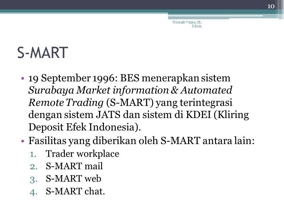 S-MART 19 September 1996: BES menerapkan sistem Surabaya Market information & Automated Remote Trading (S-MART) yang terintegrasi dengan sistem JATS d