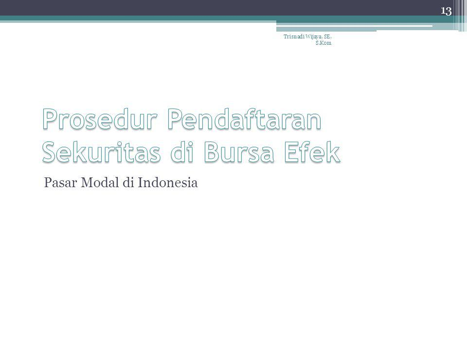 Pasar Modal di Indonesia Trisnadi Wijaya, SE, S.Kom 13