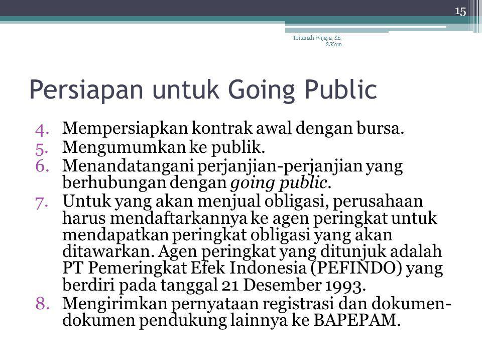 Persiapan untuk Going Public 4.Mempersiapkan kontrak awal dengan bursa. 5.Mengumumkan ke publik. 6.Menandatangani perjanjian-perjanjian yang berhubung