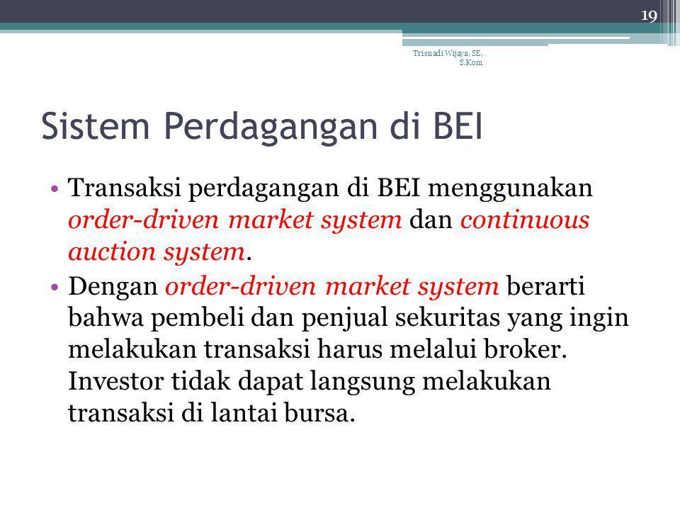 Sistem Perdagangan di BEI Transaksi perdagangan di BEI menggunakan order-driven market system dan continuous auction system. Dengan order-driven marke