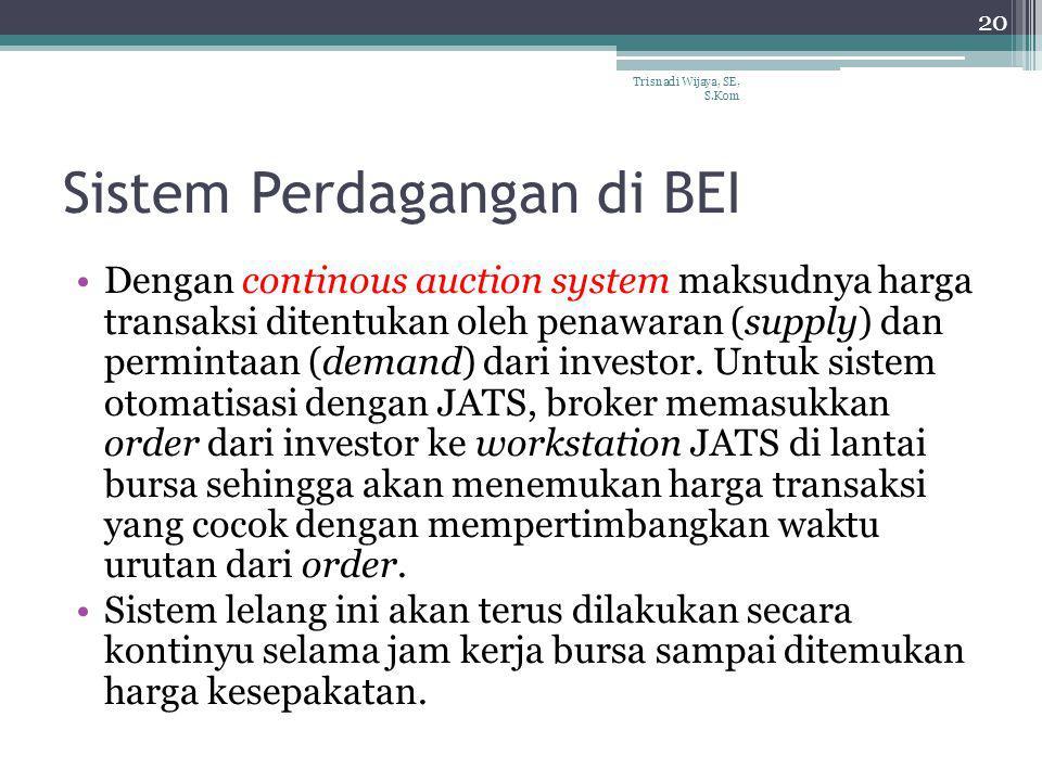 Sistem Perdagangan di BEI Dengan continous auction system maksudnya harga transaksi ditentukan oleh penawaran (supply) dan permintaan (demand) dari in