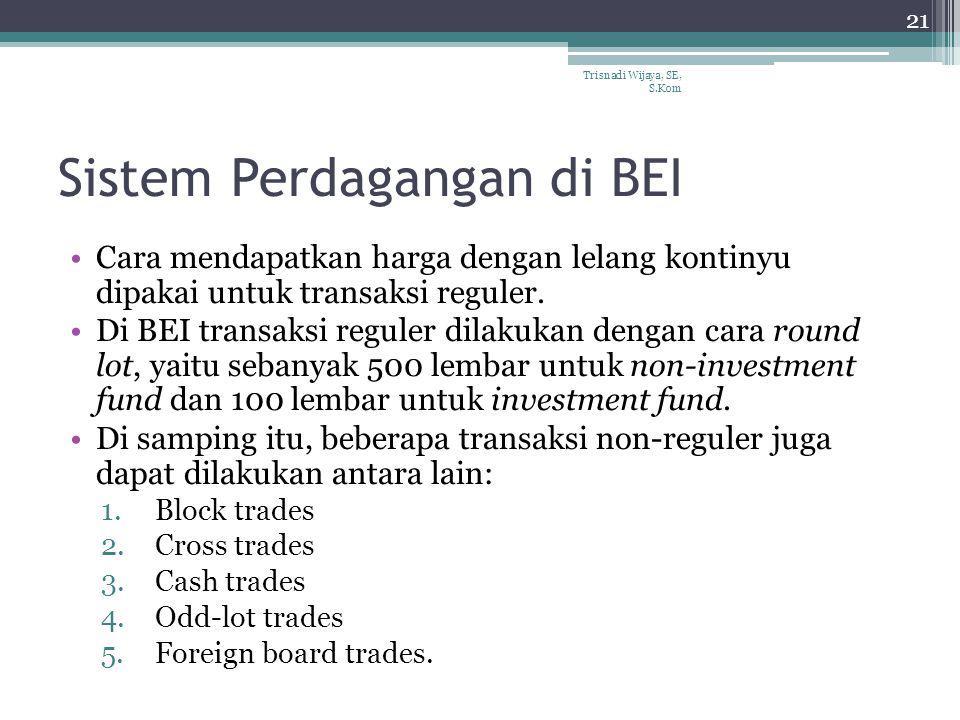 Sistem Perdagangan di BEI Cara mendapatkan harga dengan lelang kontinyu dipakai untuk transaksi reguler. Di BEI transaksi reguler dilakukan dengan car