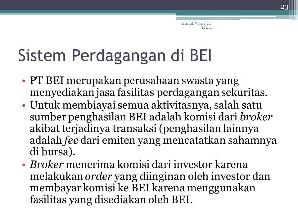 Sistem Perdagangan di BEI PT BEI merupakan perusahaan swasta yang menyediakan jasa fasilitas perdagangan sekuritas. Untuk membiayai semua aktivitasnya