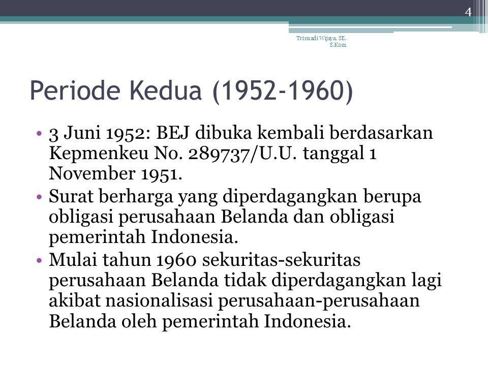 Periode Kedua (1952-1960) 3 Juni 1952: BEJ dibuka kembali berdasarkan Kepmenkeu No. 289737/U.U. tanggal 1 November 1951. Surat berharga yang diperdaga