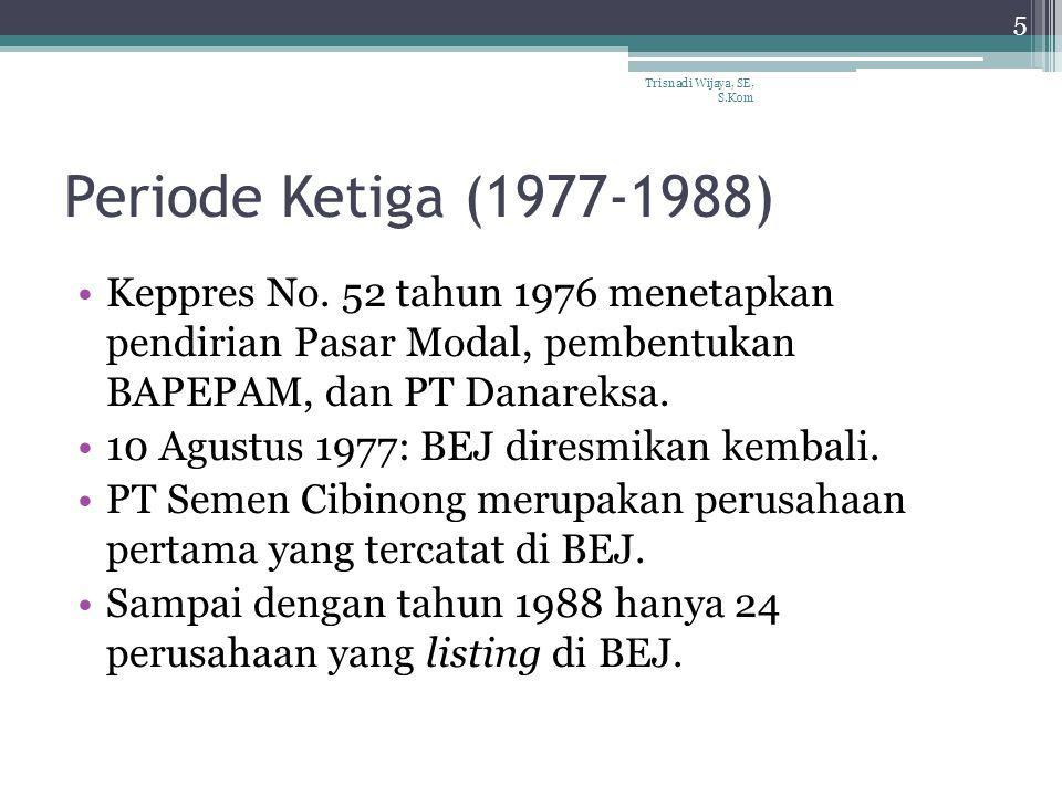Periode Ketiga (1977-1988) Keppres No. 52 tahun 1976 menetapkan pendirian Pasar Modal, pembentukan BAPEPAM, dan PT Danareksa. 10 Agustus 1977: BEJ dir
