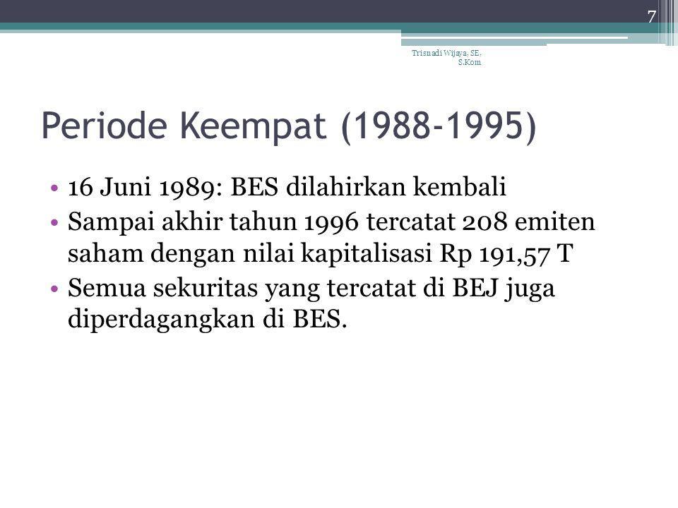 Periode Keempat (1988-1995) 16 Juni 1989: BES dilahirkan kembali Sampai akhir tahun 1996 tercatat 208 emiten saham dengan nilai kapitalisasi Rp 191,57