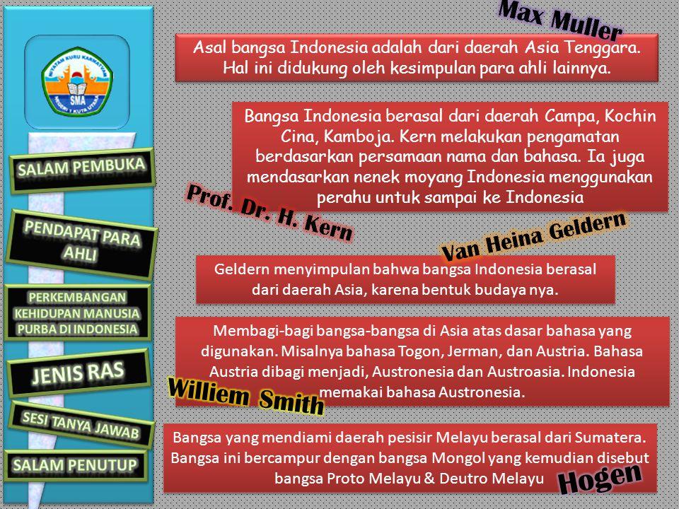 Asal bangsa Indonesia adalah dari daerah Asia Tenggara.