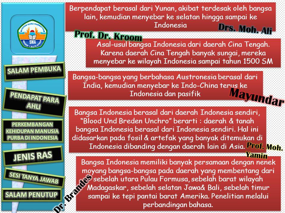 Berpendapat berasal dari Yunan, akibat terdesak oleh bangsa lain, kemudian menyebar ke selatan hingga sampai ke Indonesia Asal-usul bangsa Indonesia dari daerah Cina Tengah.