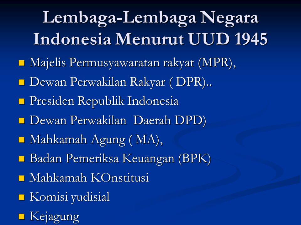 Lembaga-Lembaga Negara Indonesia Menurut UUD 1945 Majelis Permusyawaratan rakyat (MPR), Majelis Permusyawaratan rakyat (MPR), Dewan Perwakilan Rakyar ( DPR)..