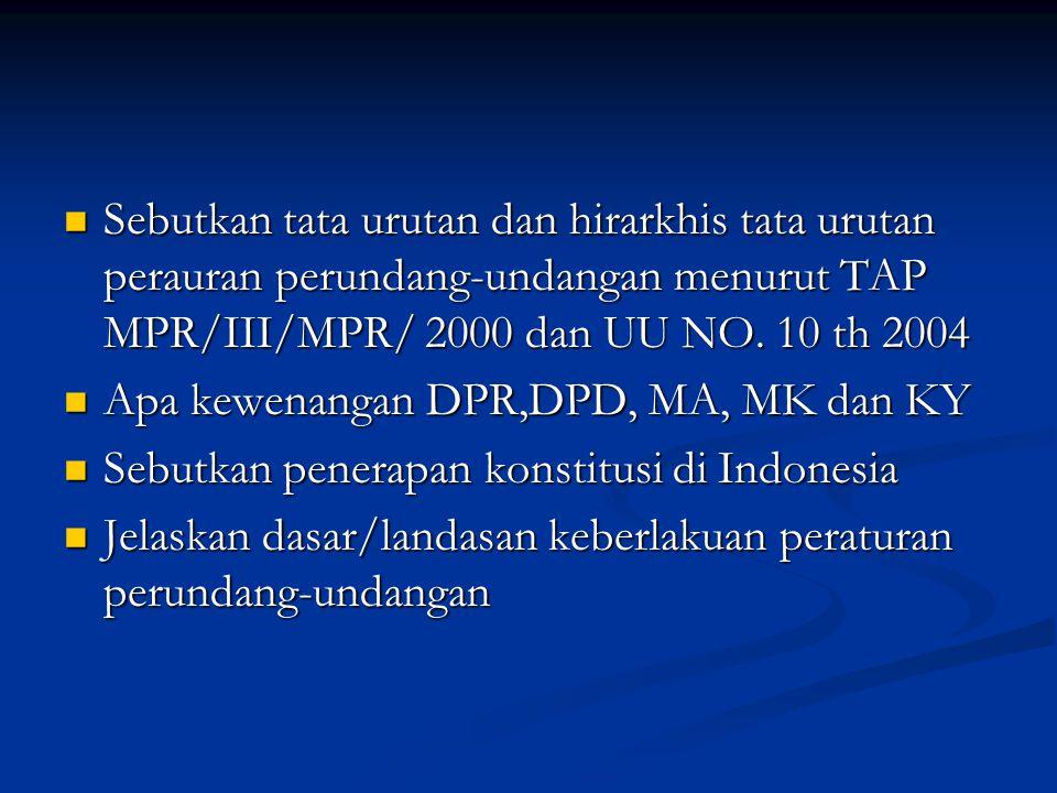 Sebutkan tata urutan dan hirarkhis tata urutan perauran perundang-undangan menurut TAP MPR/III/MPR/ 2000 dan UU NO.