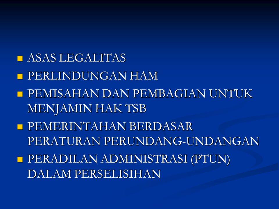 ASAS LEGALITAS ASAS LEGALITAS PERLINDUNGAN HAM PERLINDUNGAN HAM PEMISAHAN DAN PEMBAGIAN UNTUK MENJAMIN HAK TSB PEMISAHAN DAN PEMBAGIAN UNTUK MENJAMIN HAK TSB PEMERINTAHAN BERDASAR PERATURAN PERUNDANG-UNDANGAN PEMERINTAHAN BERDASAR PERATURAN PERUNDANG-UNDANGAN PERADILAN ADMINISTRASI (PTUN) DALAM PERSELISIHAN PERADILAN ADMINISTRASI (PTUN) DALAM PERSELISIHAN