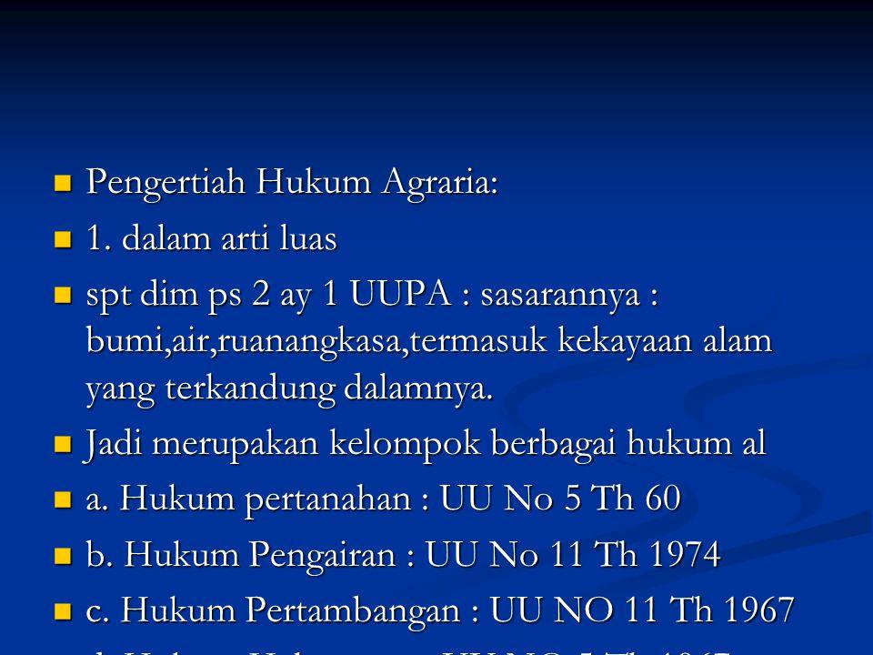 Pengertiah Hukum Agraria: Pengertiah Hukum Agraria: 1.