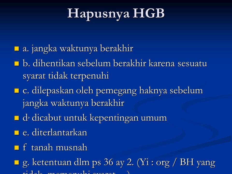 Hapusnya HGB a. jangka waktunya berakhir a. jangka waktunya berakhir b.