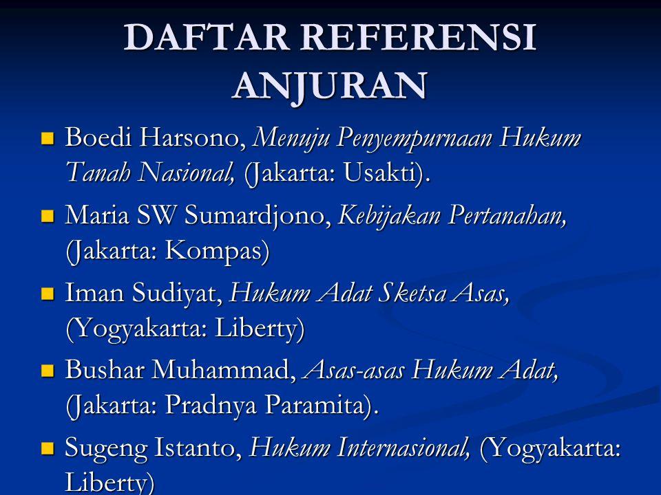 DAFTAR REFERENSI ANJURAN Boedi Harsono, Menuju Penyempurnaan Hukum Tanah Nasional, (Jakarta: Usakti).