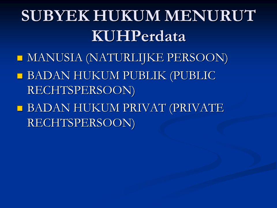 SUBYEK HUKUM MENURUT KUHPerdata MANUSIA (NATURLIJKE PERSOON) MANUSIA (NATURLIJKE PERSOON) BADAN HUKUM PUBLIK (PUBLIC RECHTSPERSOON) BADAN HUKUM PUBLIK (PUBLIC RECHTSPERSOON) BADAN HUKUM PRIVAT (PRIVATE RECHTSPERSOON) BADAN HUKUM PRIVAT (PRIVATE RECHTSPERSOON)