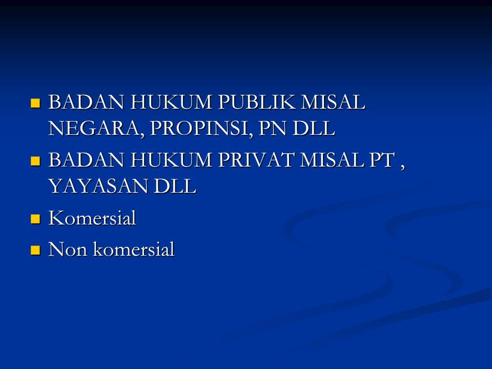 BADAN HUKUM PUBLIK MISAL NEGARA, PROPINSI, PN DLL BADAN HUKUM PUBLIK MISAL NEGARA, PROPINSI, PN DLL BADAN HUKUM PRIVAT MISAL PT, YAYASAN DLL BADAN HUKUM PRIVAT MISAL PT, YAYASAN DLL Komersial Komersial Non komersial Non komersial