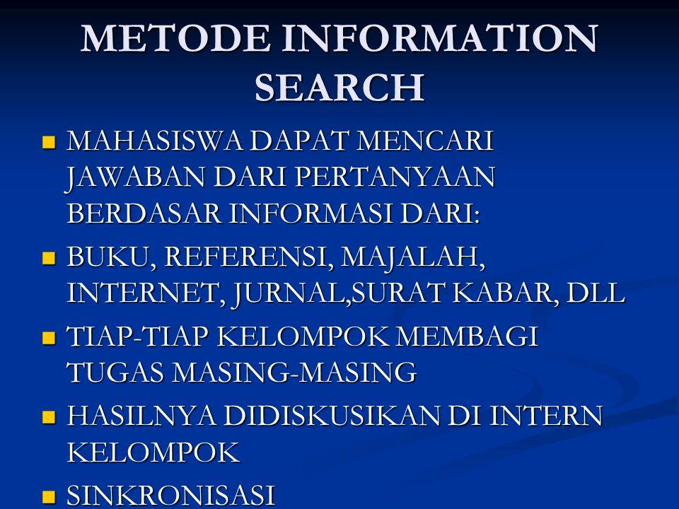 METODE INFORMATION SEARCH MAHASISWA DAPAT MENCARI JAWABAN DARI PERTANYAAN BERDASAR INFORMASI DARI: MAHASISWA DAPAT MENCARI JAWABAN DARI PERTANYAAN BERDASAR INFORMASI DARI: BUKU, REFERENSI, MAJALAH, INTERNET, JURNAL,SURAT KABAR, DLL BUKU, REFERENSI, MAJALAH, INTERNET, JURNAL,SURAT KABAR, DLL TIAP-TIAP KELOMPOK MEMBAGI TUGAS MASING-MASING TIAP-TIAP KELOMPOK MEMBAGI TUGAS MASING-MASING HASILNYA DIDISKUSIKAN DI INTERN KELOMPOK HASILNYA DIDISKUSIKAN DI INTERN KELOMPOK SINKRONISASI SINKRONISASI MEMBUAT LEMBAR KERJA DAN DIKUMPULKAN MEMBUAT LEMBAR KERJA DAN DIKUMPULKAN