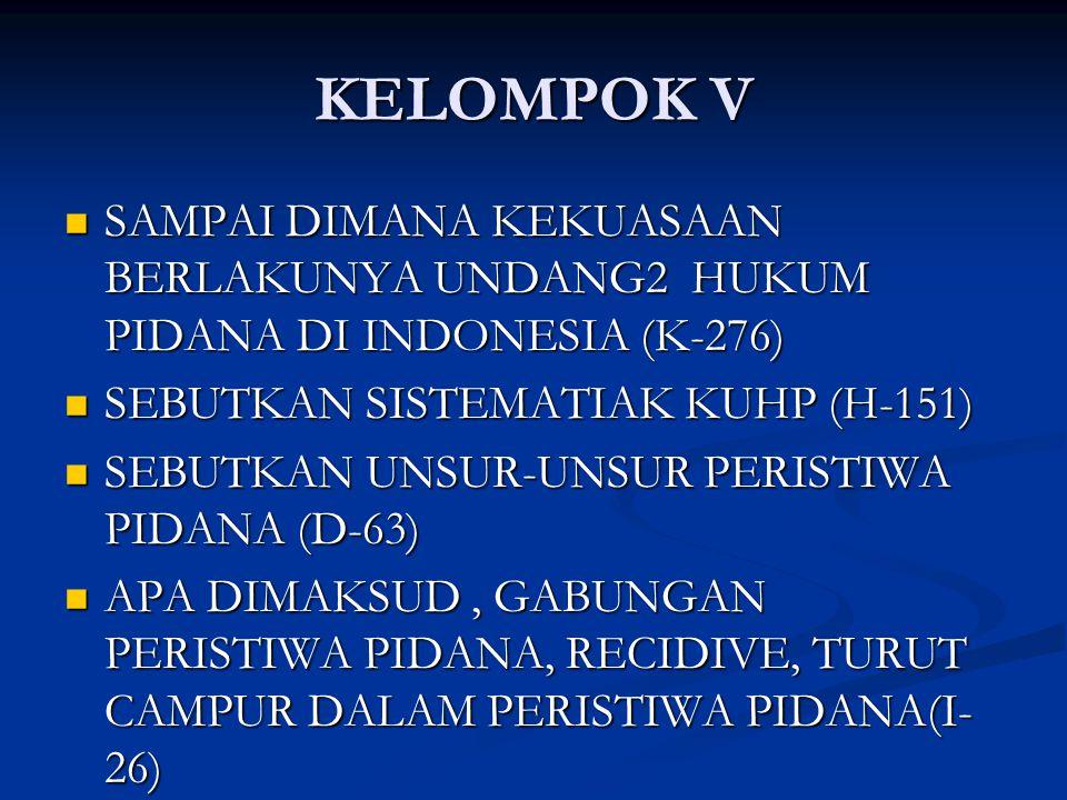 KELOMPOK V SAMPAI DIMANA KEKUASAAN BERLAKUNYA UNDANG2 HUKUM PIDANA DI INDONESIA (K-276) SAMPAI DIMANA KEKUASAAN BERLAKUNYA UNDANG2 HUKUM PIDANA DI INDONESIA (K-276) SEBUTKAN SISTEMATIAK KUHP (H-151) SEBUTKAN SISTEMATIAK KUHP (H-151) SEBUTKAN UNSUR-UNSUR PERISTIWA PIDANA (D-63) SEBUTKAN UNSUR-UNSUR PERISTIWA PIDANA (D-63) APA DIMAKSUD, GABUNGAN PERISTIWA PIDANA, RECIDIVE, TURUT CAMPUR DALAM PERISTIWA PIDANA(I- 26) APA DIMAKSUD, GABUNGAN PERISTIWA PIDANA, RECIDIVE, TURUT CAMPUR DALAM PERISTIWA PIDANA(I- 26)