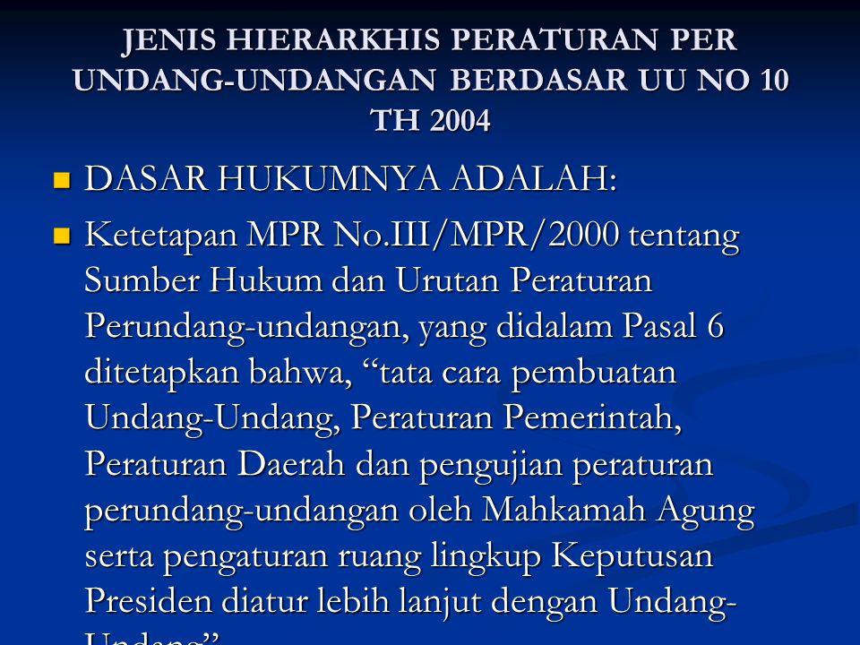 JENIS HIERARKHIS PERATURAN PER UNDANG-UNDANGAN BERDASAR UU NO 10 TH 2004 DASAR HUKUMNYA ADALAH: DASAR HUKUMNYA ADALAH: Ketetapan MPR No.III/MPR/2000 tentang Sumber Hukum dan Urutan Peraturan Perundang-undangan, yang didalam Pasal 6 ditetapkan bahwa, tata cara pembuatan Undang-Undang, Peraturan Pemerintah, Peraturan Daerah dan pengujian peraturan perundang-undangan oleh Mahkamah Agung serta pengaturan ruang lingkup Keputusan Presiden diatur lebih lanjut dengan Undang- Undang .